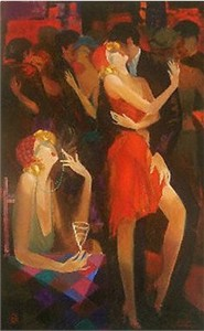 "Atvandil Limited Edition Embelleshed Giclee on Canvas :""Hot Night Romance"""