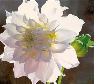 "Brian Davis Handsigned and Numbered Limited Edition Giclee on Canvas:""Pale Pink Dahlia"""