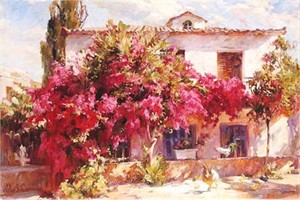 "Michael & Inessa Garmash Handsigned and Numbered Limited Edition Embellished Giclee on Canvas:""Summer in the Country"""