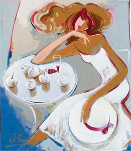 "Irene Sheri Handsigned and Numbered Limited Edition Embellished Giclee on Canvas:""Summer Dreams"""