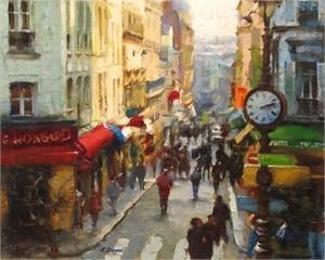 "Eugene Segal Handsigned and Numbered Embellished Giclee on Canvas:""City Life"""