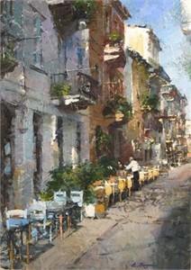 "Eugene Segal Handsigned and Numbered Embellished Giclee on Canvas:""Sunny Day"""