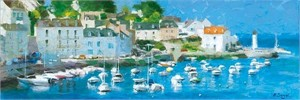 "Eugene Segal Handsigned and Numbered Embellished Giclee on Canvas:""Yachts in Normandy"""