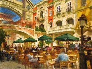 "Eugene Segal Handsigned and Numbered Embellished Giclee on Canvas:""Café in the Plaza"""