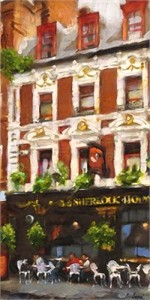 "Eugene Segal Handsigned and Numbered Embellished Giclee on Canvas:""Restaurant in London """
