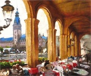 """Eugene Segal Handsigned and Numbered Embellished Giclee on Canvas:""""Café in Hamburg"""""""