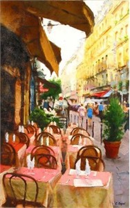 """Eugene Segal Handsigned and Numbered Embellished Giclee on Canvas:""""A Street in Paris"""""""