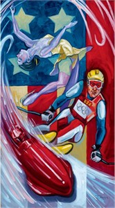 "Tim Rogerson Handsigned and Numbered Embellished Giclee on Canvas:""US Olympic Winter Team 2006"""
