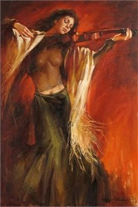 """Andrew Handsigned and Numbered Embellished Giclee on Canvas:""""Lost in Music """""""
