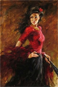 "Andrew Handsigned and Numbered Embellished Giclee on Canvas:""Fan Dancer """