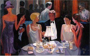 "Avantdil Handsigned and Numbered Limited Edition Embellished Giclee on Canvas:""Dining Out"""