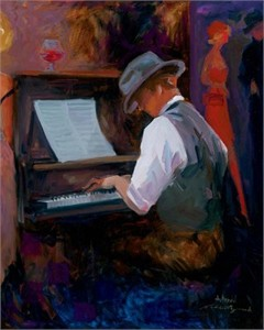 "Avantdil Handsigned and Numbered Limited Edition Embellished Giclee on Canvas:""Play Me a Tune"""