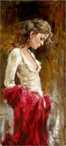 "Andrew Atroshenko Artist Signed Limited Edition  Embellished  Giclee on Hand-Textured Canvas :""Wishful"""