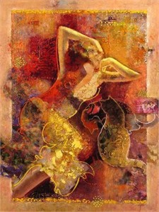 """Sabzi Handsigned and Numbered Limited Edition Embellished Giclee on Canvas: """"The Intimate Mind """""""