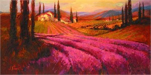 "Irene Sheri Handsigned and Numbered Limited Edition Embellished Giclee on Canvas: ""Lavender Twighlight"""