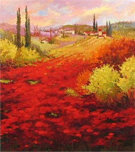 """Irene Sheri Handsigned and Numbered Limited Edition Embellished Giclee on Canvas: """"Poppy Field"""""""