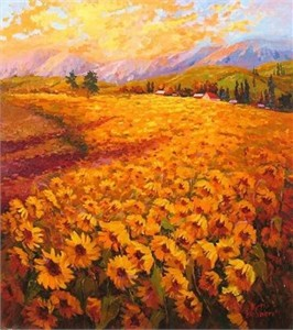 "Irene Sheri Handsigned and Numbered Limited Edition Embellished Giclee on Canvas: ""Sunflowers"""