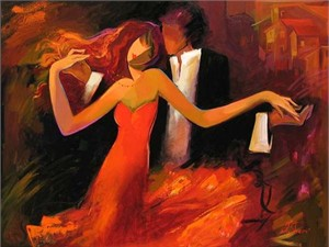 """Irene Sheri Handsigned and Numbered Limited Edition Embellished Giclee on Canvas: """"Swept Away """""""
