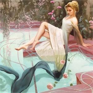 """Svetlana Valueva Handsigned and Numbered Limited Edition Giclee on Canvas: """"Mermaid """""""