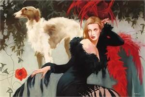"Svetlana Valueva Handsigned and Numbered Limited Edition Giclee on Canvas: ""Scarlett """