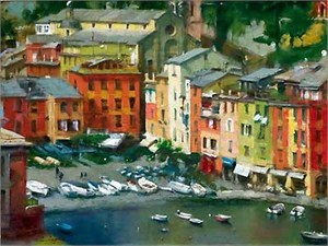 "Eugene Segal  Handsigned and Numbered Limited Edition Embellished Giclee on Canvas: ""Portofino"""