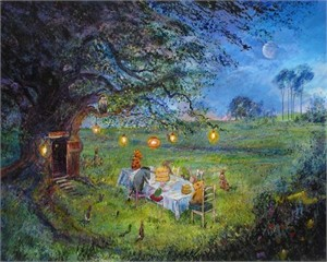 "Harrison Ellenshaw Handsigned and Numbered Limited Edition Embellished Giclee on Canvas: ""Pooh's 80th - Garden Party """