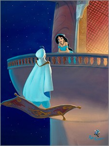 "Rob Kaz Signed and Numbered Limited Edition Hand-Embellished Giclée on Canvas:""Falling for Aladdin"""