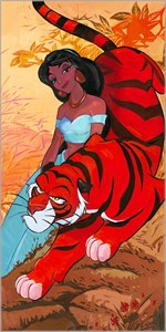 "Jim Salvati Signed and Numbered Limited Edition Hand-Textured Giclée on Canvas:""Jasmine's Fierce Protector"""