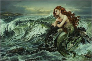 "Heather Theurer Hand-Signed and Numbered Limited Edition Hand-Embellished Textured Canvas Giclee:""Drawn to the Shore"""