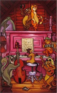 "Tim Rogerson Handsigned and Numbered Limited Edition Embellished Giclee on Canvas: ""Scat Cat Beat """
