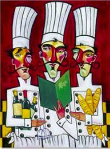 "Tim Rogerson Handsigned and Numbered Embellished Giclee on Canvas:""Les Trois Chefs"""