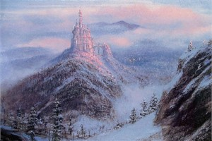 """Peter Ellenshaw Handsigned and Numbered Limited Edition Giclee on Canvas: """"Mystical Kingdom of the Beast"""""""