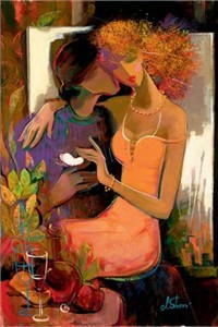 "Irene Sheri  Handsigned & Numbered Limited Edition Hand Embellished Canvas Giclee: ""Summer: Love Blooms"""