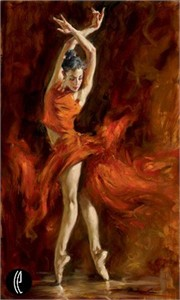"Andrew Atroshenko Limited Edition Embelleshed Giclee on Canvas :""Fiery Dance"""