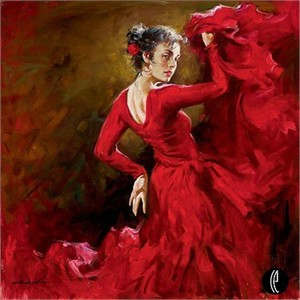 "Andrew Atroshenko Limited Edition Embelleshed Giclee on Canvas :""Crimson Dancer"""