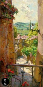 "Garmash Handsigned & Numbered Limited Edition Embellished Giclee on Hand Textured Canvas:""Heart of the Village"""