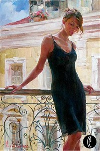 """Garmash Handsigned & Numbered Limited Edition Embellished Giclee on Hand Textured Canvas:""""Afternoon on the Balcony"""""""