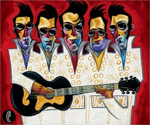 """Tim Rogerson Handsigned and Numbered Embellished Giclee on Canvas:""""Five Faux Strum"""""""