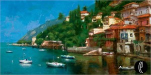 """Eugene Segal  Handsigned and Numbered Limited Edition Embellished Giclee on Canvas: """"On the Lake"""""""