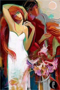 "Irene Sheri Handsigned and Numbered Limited Edition Embellished Giclee on Canvas: ""Waltz of Flowers"""