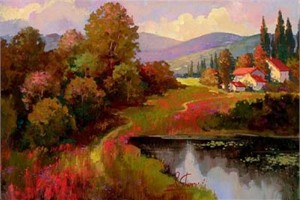 """Irene Sheri Handsigned and Numbered Limited Edition Embellished Giclee on Canvas: """"Autumn Melody"""""""