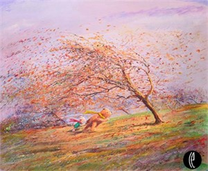 "Peter & Harrison Ellenshaw Handsigned and Numbered Limited Edition Embellished Giclee on Canvas: ""A Very Blustery Day"""