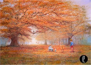 "Peter & Harrison Ellenshaw Handsigned and Numbered Limited Edition Embellished Giclee on Canvas: ""The Joy of Autumn Leaves"""