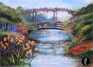 "Peter & Harrison Ellenshaw Handsigned and Numbered Limited Edition Embellished Giclee on Canvas: ""Pooh Sticks"""