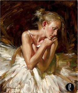"Andrew Atroshenko Limited Edition Embelleshed Giclee on Canvas :""Thoughts Before the Dance"""