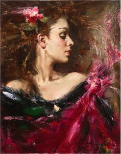 "Andrew Atroshenko Handsigned and Numbered Framed Limited Edition Giclee on Canvas:""Before the Dance"""