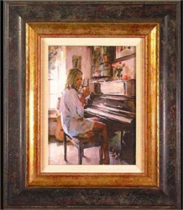 "Michael & Inessa Garmash Handsigned and Numbered Framed Limited Edition Giclee on Canvas:""Morning Inspiration"""