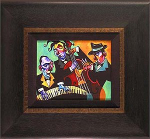 """Tim Rogerson Handsigned and Numbered Framed Limited Edition Giclee on Canvas:""""Three Black Ties"""""""