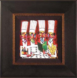 "Brian Davis Handsigned and Numbered Framed Limited Edition Giclee on Canvas:""Chef Quartet"""