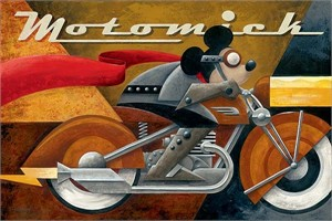 "Mike Kungl Handsigned and Numbered Limited Edition Embellished Giclee on Canvas:""Moto Mick"""